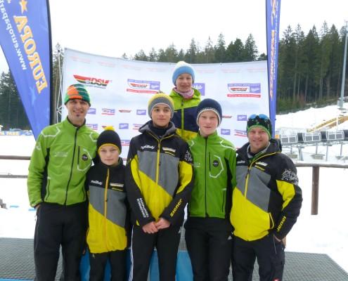 Das erfolgreiche Team beim DSC in Hinterzarten. Von links: Trainer Hansjörg Jäkle, Claudio Haas, Jonas Jäkle, Tim Hettich, Benedikt Kuner, Trainer Marius Kaiser
